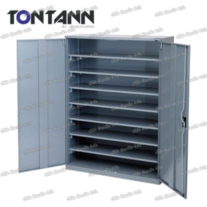 รูปภาพของ ตู้เก็บอะไหล่งานหนัก TOOLMAX BC-78DN บานเปิด 8 ชั้น มีประตู 350กก.(ตู้เทา)