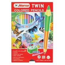 รูปภาพของ ดินสอสีไม้ ตราม้า 2 หัว 36 สี (กล่อง 18 ด้าม)