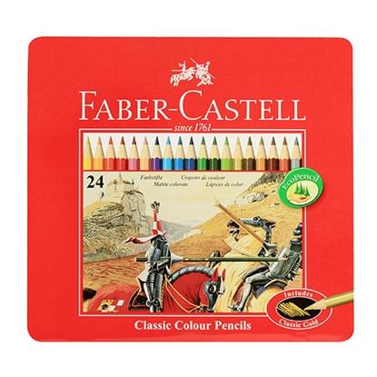 รูปภาพของ ดินสอสีไม้อัศวิน เฟเบอร์-คาสเทลล์ กล่องเหล็ก 24 สี