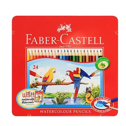 รูปภาพของ ดินสอสีไม้ระบายน้ำนกแก้ว เฟเบอร์-คาสเทลล์ กล่องเหล็ก 24 สี