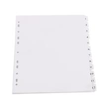 รูปภาพของ อินเด็กซ์กระดาษการ์ดขาว ใบโพธิ์ ตัวเลข 1-12 หยัก A4