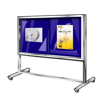 รูปภาพของ บอร์ดปิดประกาศตู้กระจกกำมะหยี่ 1 ด้าน แบบมีล้อ ฟูจิ 120x240 ซม. สีน้ำเงิน