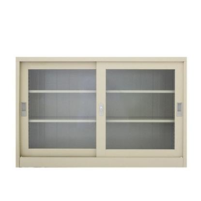 รูปภาพของ ตู้เอกสารเหล็กบานเลื่อนกระจกใส 3 ชั้น METAL PRO SPSL-1275G  สีเทาขาว, สีครีม 120x45x75ซม.