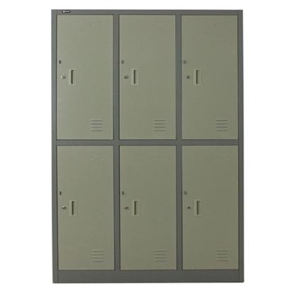 รูปภาพของ ตู้ล็อกเกอร์บานเปิด 6 ประตู SPACE PRO SPLK-6106 สีครีม, สีเทา