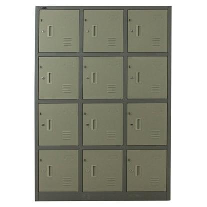 รูปภาพของ ตู้ล็อกเกอร์บานเปิด 12 ประตู SPACE PRO SPLK-6112 สีครีม, สีเทา