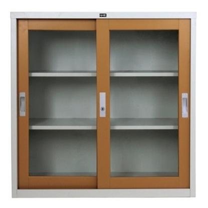 รูปภาพของ ตู้เอกสารบานเลื่อนกระจก 3 ชั้น เอเพ็กซ์ ADG-323 สีพิเศษ