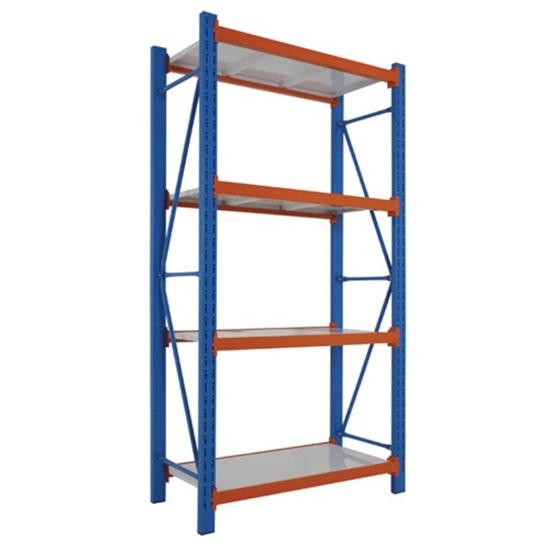 รูปภาพของ ชั้นเหล็กอเนกประสงค์ MAXSIS FY01-03 ชั้นต้น 100x45x200ซม.  เสาสีน้ำเงิน คานสีส้ม แผ่นชั้นสีครีม