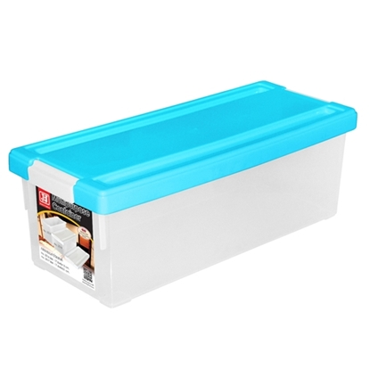 รูปภาพของ กล่องใส่ CD สีฟ้า 1x3ชิ้น (บรรจุได้ 38 แผ่น) 17.5x45x15cm.
