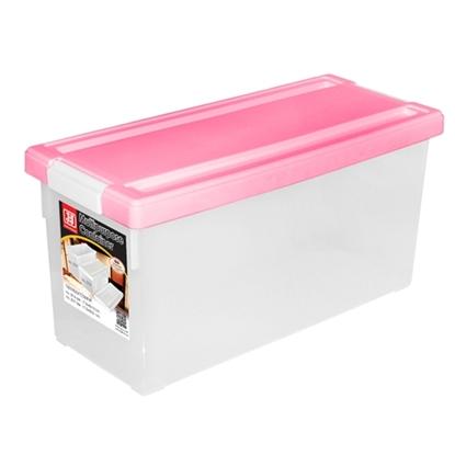 รูปภาพของ กล่องใส่ DVD สีชมพู 1x3ชิ้น (บรรจุได้ 38 แผ่น) 17.5x45x20cm.