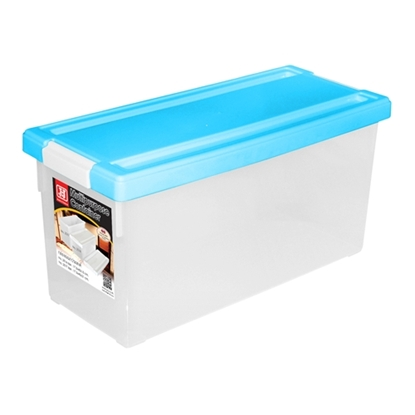รูปภาพของ กล่องใส่ DVD สีฟ้า 1x3ชิ้น (บรรจุได้ 38 แผ่น) 17.5x45x20cm.