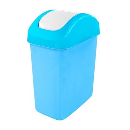รูปภาพของ ถังขยะสี่เหลี่ยมฝาสวิง สีฟ้า 14 ลิตร 18x31x42cm.