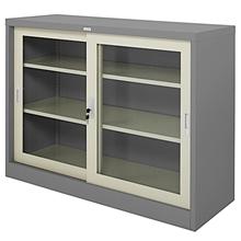 รูปภาพของ ตู้เหล็กบานเลื่อนกระจก 4 ฟุต Zingular รุ่น ZDG-324 สีเทาสลับ