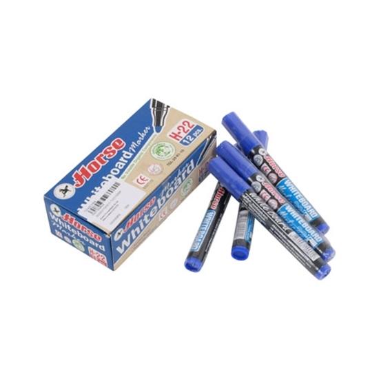 ปากกาไวท์บอร์ด ปากกาไวท์บอร์ด ตราม้า H-22  2 มม. หัวแหลม สีน้ำเงิน (กล่อง 12 ด้าม) ตราม้า