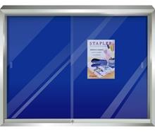 รูปภาพของ บอร์ดปิดประกาศตู้กระจก กำมะหยี่ ฟูจิ 90x180ซม. น้ำเงิน