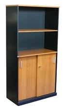 รูปภาพของ ตู้เอกสารบานเลื่อน 2 ชั้น บานโล่ง 2 ชั้น โมโน C150WSS(F) เชอร์รี่/ดำ