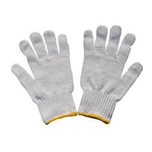 รูปภาพของ ถุงมือผ้าทอ 7 ขีด สีขาวขอบเหลือง (แพ็ค 12 คู่)