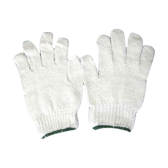 รูปภาพของ ถุงมือผ้าทอ 5 ขีด สีขาวขอบเขียว (แพ็ค 12 คู่)