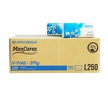 รูปภาพของ กระดาษเช็ดมือ MaxCares V-Fold ขนาด20x23 ซม. หนา2ชั้น 250แผ่น x 24ห่อ