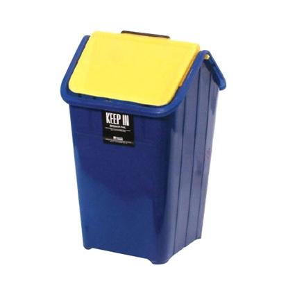 รูปภาพของ ถังขยะเหลี่ยมฝาสวิง สแตนดาร์ด RW9066 (9 ลิตร) สีครีมฝาเทา