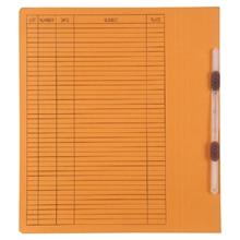 รูปภาพของ แฟ้มเจาะสันพับ ใบโพธิ์ 230 แกรม A4 สีส้ม ลิ้นแฟ้มพลาสติก(แพ็ค50เล่ม)