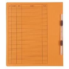 รูปภาพของ แฟ้มเจาะสันพับ ใบโพธิ์ 230 แกรม F4 สีส้ม ลิ้นแฟ้มพลาสติก(แพ็ค50เล่ม)