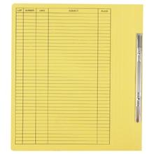 รูปภาพของ แฟ้มเจาะสันพับ ใบโพธิ์ 230 แกรม F4 เหลือง ลิ้นแฟ้มโลหะ (แพ็ค50เล่ม)