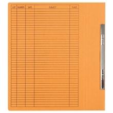 รูปภาพของ แฟ้มเจาะสันพับ ใบโพธิ์ 230 แกรม F4 สีส้ม ลิ้นแฟ้มโลหะ (แพ็ค50เล่ม)