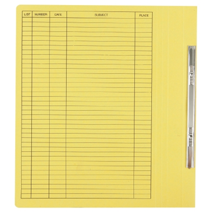 รูปภาพของ แฟ้มเจาะสันพับ ใบโพธิ์ รุ่น403 F4 สีเหลือง ลิ้นแฟ้มโลหะ (แพ็ค50เล่ม)