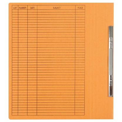 รูปภาพของ แฟ้มเจาะสันพับ ใบโพธิ์ รุ่น403 F4 สีส้ม ลิ้นแฟ้มโลหะ (แพ็ค50เล่ม)