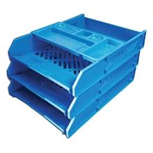 รูปภาพของ ถาดเอกสารพลาสติก WAGO 3 ชั้น26x33.5x11 ซม. สีฟ้า