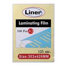 รูปภาพของ พลาสติกเคลือบบัตร ไลเนอร์ 125 ไมครอน A3 303x426 มม. (กล่อง 100 แผ่น)