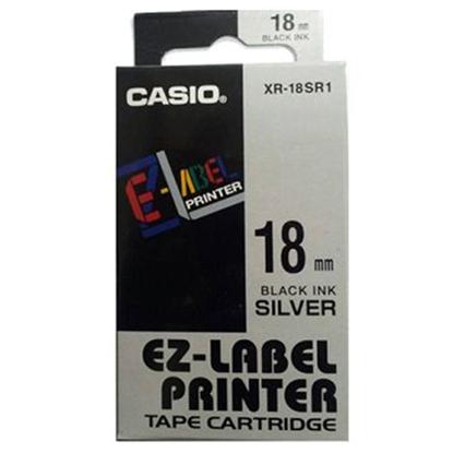รูปภาพของ เทปพิมพ์อักษร CASIO XR-18SR1 18 มม. ดำพื้นเงิน