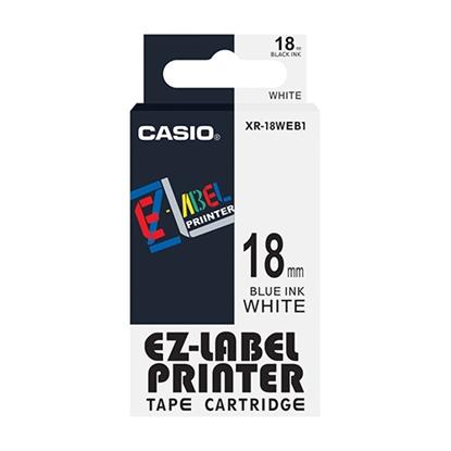 รูปภาพของ เทปพิมพ์อักษร CASIO XR-18WEB1 18 มม. น้ำเงินพื้นขาว