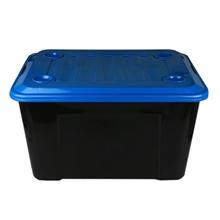 รูปภาพของ กล่องพลาสติกอเนกประสงค์ ล้อเลื่อน #55 55ลิตร 40x54x32ซม.กล่องดำ ฝาคละสี