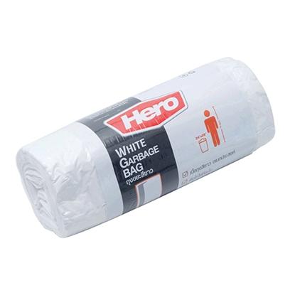 รูปภาพของ ถุงขยะม้วน Hero สีขาว ขนาด 24 x 28 นิ้ว ( บรรจุ 20 ใบ )