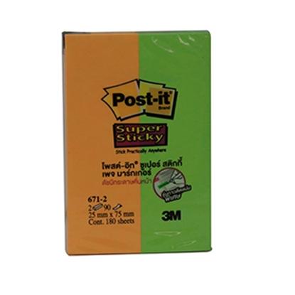"""รูปภาพของ Post-it 3M PageMarker 671-2AP 1x3"""" นีออนคละสี 2 สี"""
