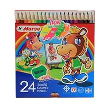 รูปภาพของ ดินสอสีไม้ ตราม้า H-2080 แท่งยาว24 สี