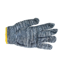 รูปภาพของ ถุงมือผ้าทอ 6 ขีด สีเทาขอบส้ม (แพ็ค 12 คู่)