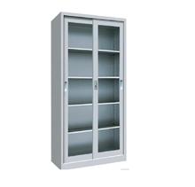 รูปภาพของ ตู้เอกสารเหล็กบานเลื่อนกระจกใส 5 ชั้น MET-YB02 สีเทาขาว