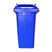รูปภาพของ ถังขยะเหลี่ยม 240 ลิตร 2 ล้อ ฝาเรียบ สีน้ำเงิน