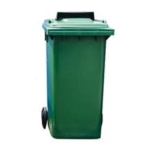 รูปภาพของ ถังขยะสี่เหลี่ยม 120 ลิตร 2 ล้อ ฝาเจาะช่องทิ้ง สีเขียว