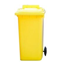 รูปภาพของ ถังขยะสี่เหลี่ยม 120 ลิตร 2 ล้อ ฝาเจาะช่องทิ้ง สีเหลือง