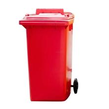 รูปภาพของ ถังขยะสี่เหลี่ยม 120 ลิตร 2 ล้อ ฝาเจาะช่องทิ้ง สีแดง