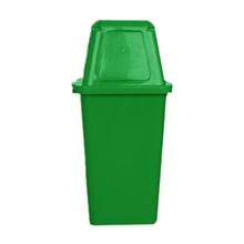 รูปภาพของ ถังขยะสี่เหลี่ยม 120 ลิตร ฝาผลัก สีเขียว