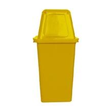 รูปภาพของ ถังขยะสี่เหลี่ยม 120 ลิตร ฝาผลัก สีเหลือง