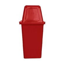 รูปภาพของ ถังขยะสี่เหลี่ยม 120 ลิตร ฝาผลัก สีแดง