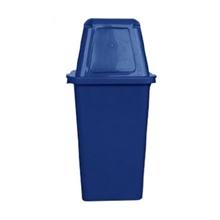 รูปภาพของ ถังขยะสี่เหลี่ยม 120 ลิตร ฝาผลัก สีน้ำเงิน