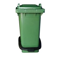 รูปภาพของ ถังขยะสี่เหลี่ยม 120 ลิตร 2 ล้อ ฝาเรียบ พร้อมชุดเท้าเหยียบ สีเขียว