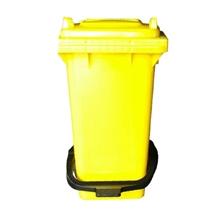 รูปภาพของ ถังขยะสี่เหลี่ยม 120 ลิตร 2 ล้อ ฝาเรียบ พร้อมชุดเท้าเหยียบ สีเหลือง