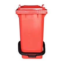 รูปภาพของ ถังขยะสี่เหลี่ยม 120 ลิตร 2 ล้อ ฝาเรียบ พร้อมชุดเท้าเหยียบ สีแดง